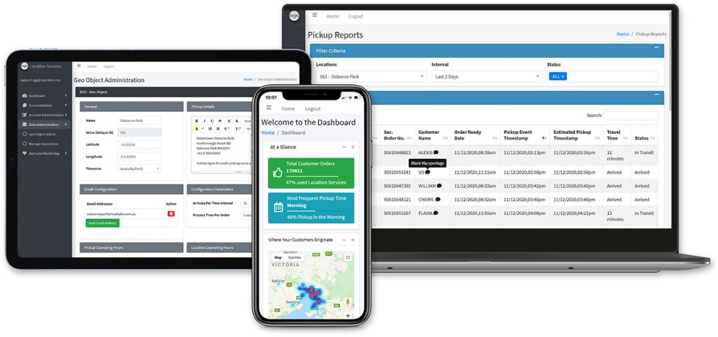 Location Services and Communication Platform on Tablet, Desktop and Mobile